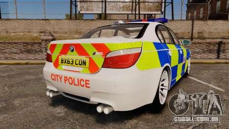 BMW M5 E60 City Of London Police [ELS] para GTA 4 traseira esquerda vista