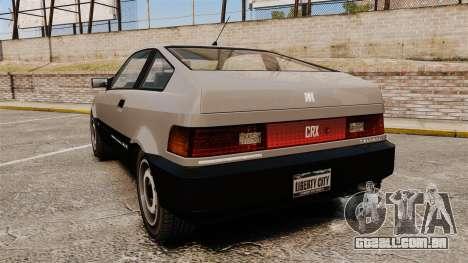 Blista CRX para GTA 4 traseira esquerda vista