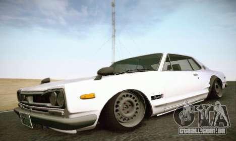 Nissan Skyline 2000GTR 1967 Hellaflush para GTA San Andreas traseira esquerda vista