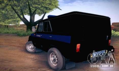 UAZ Hunter polícia para GTA San Andreas vista direita