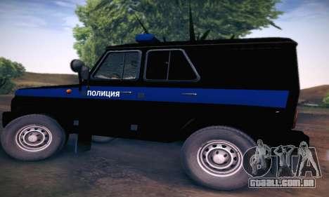 UAZ Hunter polícia para GTA San Andreas traseira esquerda vista