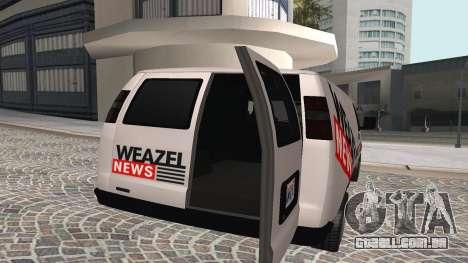 Newsvan Rumpo GTA 5 para GTA San Andreas traseira esquerda vista