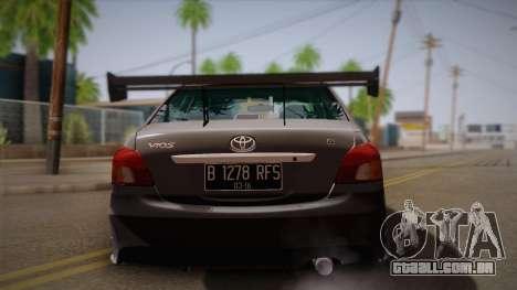 Toyota Vios Slalom Edition para GTA San Andreas vista direita