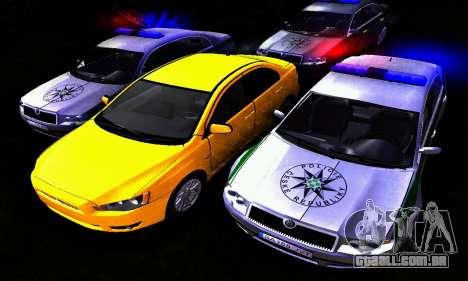 Skoda Superb POLICIE para GTA San Andreas vista traseira