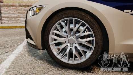 Ford Mustang GT 2015 Cheng Guan Police para GTA 4 vista de volta