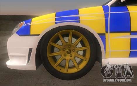 Subaru Impreza 2006 WRX STi Police Malaysian para GTA San Andreas traseira esquerda vista
