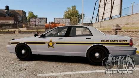 GTA V Vapid Police Cruiser Scheriff [ELS] para GTA 4 esquerda vista