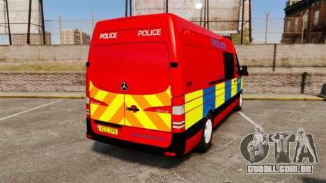 Mercedes-Benz Sprinter 313 CDI Police [ELS] para GTA 4 traseira esquerda vista