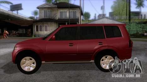 Mitsubishii Pajero IV para GTA San Andreas esquerda vista