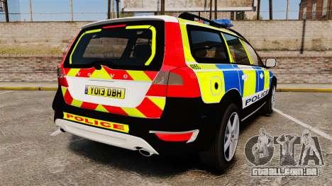 Volvo XC70 2014 Police [ELS] para GTA 4 traseira esquerda vista