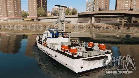 Canhoneira U.S. Coastguard para GTA 4 traseira esquerda vista