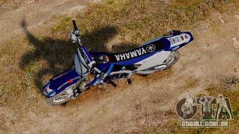 Kawasaki KX250F (Yamaha) para GTA 4 vista direita