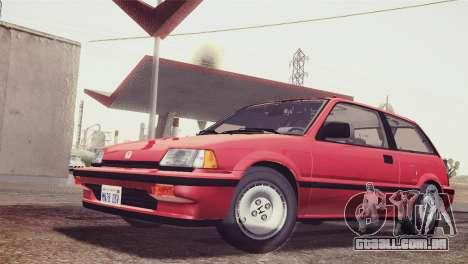 Honda Civic Si 1986 HQLM para GTA San Andreas traseira esquerda vista