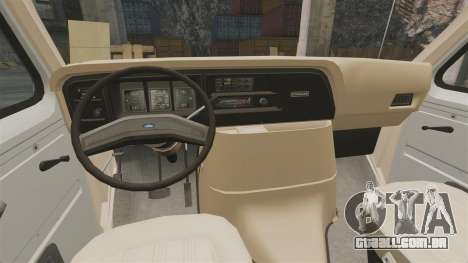 Ford E-350 1988 cube truck para GTA 4 vista interior