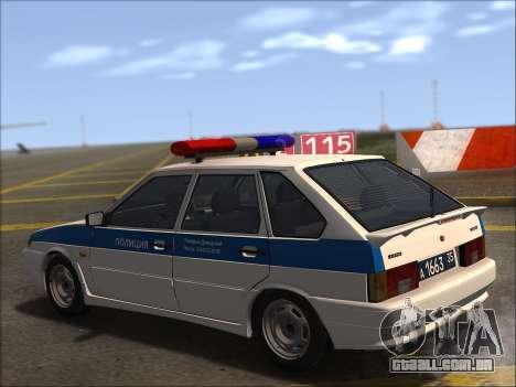 VAZ 2114 Polícia DPS para GTA San Andreas vista superior