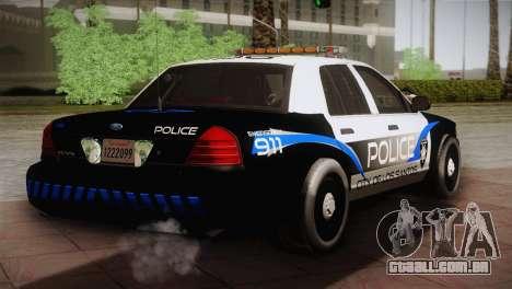 Ford Crown Victoria Police Interceptor 2009 para GTA San Andreas traseira esquerda vista
