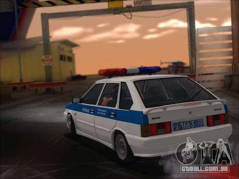 VAZ 2114 Polícia DPS para GTA San Andreas vista interior