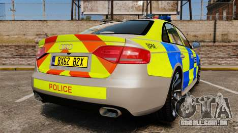 Audi S4 2013 Metropolitan Police [ELS] para GTA 4 traseira esquerda vista