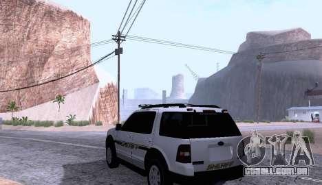 Ford Explorer Sheriff 2010 para GTA San Andreas traseira esquerda vista