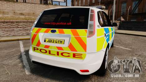 Ford Focus Estate British Police [ELS] para GTA 4 traseira esquerda vista