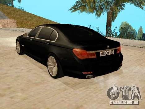 BMW 730Li para GTA San Andreas esquerda vista