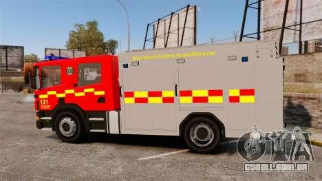 Scania 94D 260 BAS1 Stockholm Fire Brigade [ELS] para GTA 4 esquerda vista
