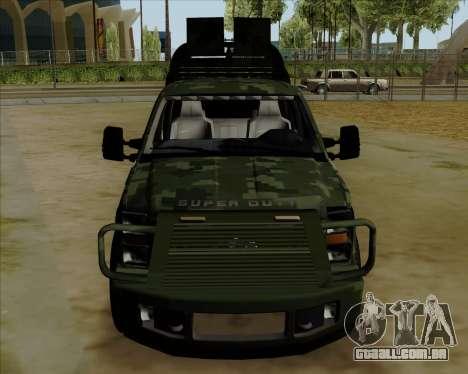 Ford F350 para GTA San Andreas traseira esquerda vista