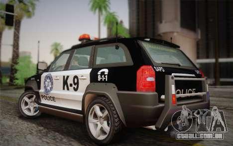 NFS Suv Rhino Heavy - Police car 2004 para GTA San Andreas traseira esquerda vista
