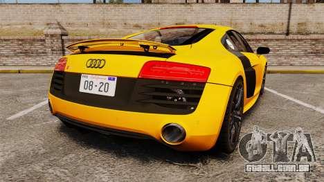Audi R8 V10 plus Coupe 2014 [EPM] [Update] para GTA 4 traseira esquerda vista