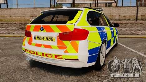 BMW 330d Touring (F31) 2014 Police [ELS] para GTA 4 traseira esquerda vista