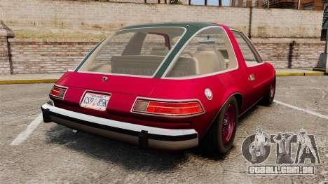 AMC Pacer para GTA 4 traseira esquerda vista