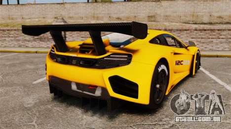 McLaren MP4-12C GT3 para GTA 4 traseira esquerda vista
