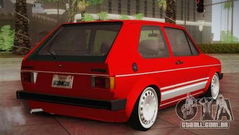 Volkswagen Golf MK1 Red Vintage para GTA San Andreas traseira esquerda vista