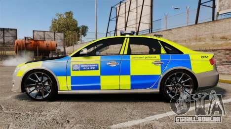 Audi S4 2013 Metropolitan Police [ELS] para GTA 4 esquerda vista