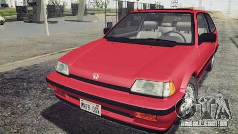Honda Civic Si 1986 HQLM para GTA San Andreas vista direita