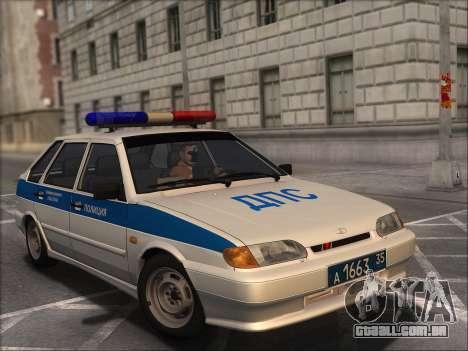 VAZ 2114 Polícia DPS para GTA San Andreas vista traseira
