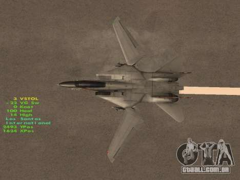 F-14 LQ para GTA San Andreas vista inferior