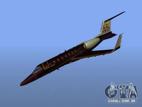 Bombardier Learjet 45 para GTA San Andreas vista traseira