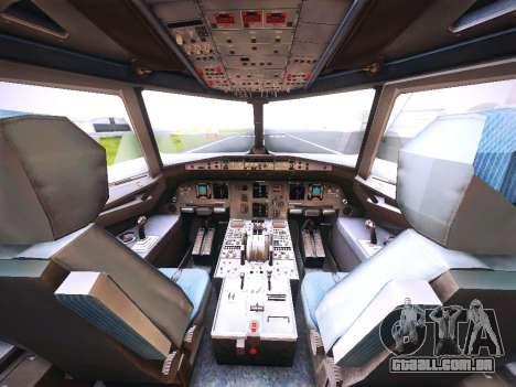 Airbus A320 JetBlue para GTA San Andreas vista interior