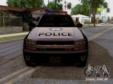 Chevrolet TrailBlazer Police para GTA San Andreas vista direita
