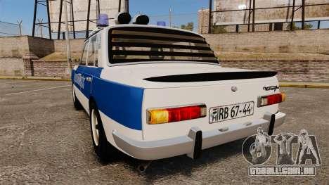 Wartburg 353w Deluxe Hungarian Police para GTA 4 traseira esquerda vista