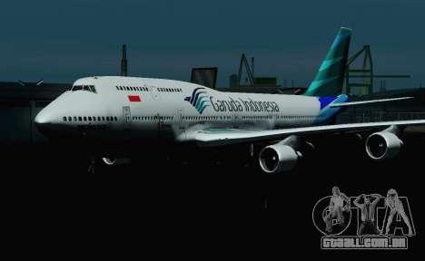 Boeing 747-400 Garuda Indonesia para GTA San Andreas vista interior