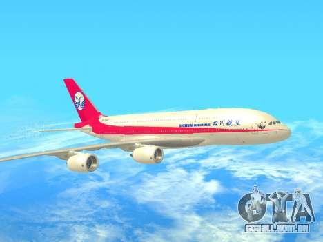 Airbus  A380-800 Sichuan Airlines para GTA San Andreas esquerda vista