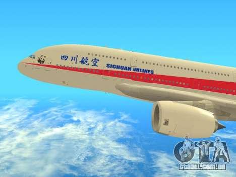 Airbus  A380-800 Sichuan Airlines para GTA San Andreas traseira esquerda vista