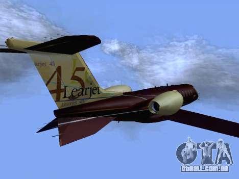 Bombardier Learjet 45 para GTA San Andreas traseira esquerda vista
