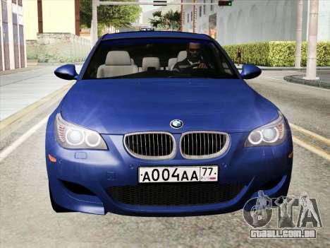 BMW M5 E60 2010 para GTA San Andreas traseira esquerda vista
