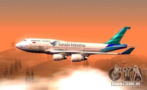 Boeing 747-400 Garuda Indonesia para GTA San Andreas esquerda vista