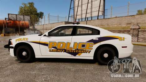 Dodge Charger 2013 Liberty University Police ELS para GTA 4 esquerda vista