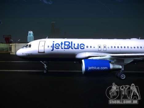 Airbus A320 JetBlue para GTA San Andreas traseira esquerda vista