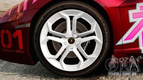 Lamborghini Aventador LP700-4 2012 [EPM] Miku para GTA 4 vista de volta
